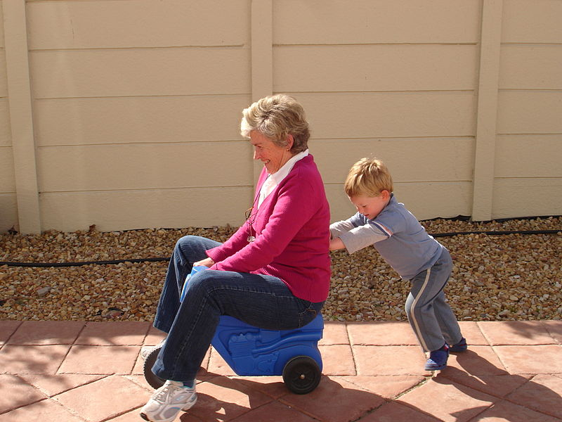 grandmother with grandparent rights playing with her grandchild